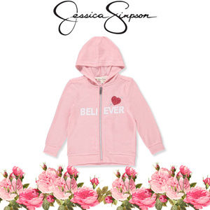 NWT Jessica Simpson Pink Believer Zip Up Hoodie Sm